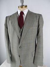 VTG Botany 500 2 Btn 3 Piece Sz 42R Plaid Wool Suit Vest 40 x 31 Flat Front EUC