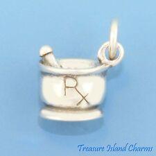 MORTAR AND PESTLE PRESCRIPTION Rx DRUG PHARMACY 3D .925 Sterling Silver Charm