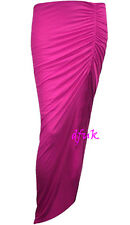LADIES SIDE SPLIT SLIT RUCHED SKIRT WOMEN LONG GYPSY MAXI DRESS SIZES 8 - 14