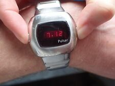 Pulsar P3 led watch.vintage 1970's.Works,but sold for spare or repair.