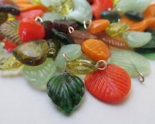 Autumn Leaves Glass Mix - 50PCs Wholesale Green, Brown Glass Pendants CM4694