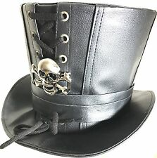 Steampunk Black Leather look top hat with metal Metal Skull In Size 61cm