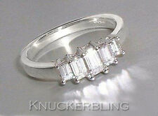 0.64ct Emerald Cut Genuine Diamond Ring 18ct White Gold 5 Stone Engagement