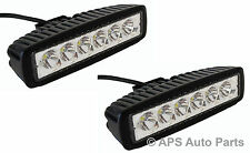 2x 18W 6 LED Slim Spot Beam Work Light Lamp Bar Tractor Jeep Truck Boat 12V 24V