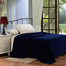 Solid Navy Blue Blanket Bedding Throw Fleece Full Queen Super Soft Warm Value