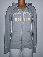 Abercrombie Fitch A&F Womens Juniors L Large Hoodie Jacket Sweater Top Gray Cute