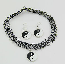 Yin and Yang Tattoo Choker Elastic Necklace earring Pendant Grunge 90s Ying Fest