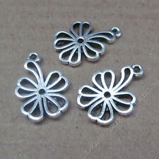 20pc Retro Tibetan Silver Flowers Pendant Charms Beads Crafts Accessories S624T