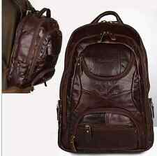 "2017 Men Genuine Leather Cowhide Large capacity 17"" Travel Backpack Bag"