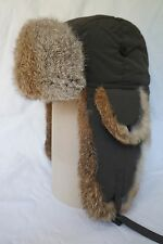 Hunting Aviator Alaskan Trail Rabbit Fur Hat Bomber Olive Green Large (L)