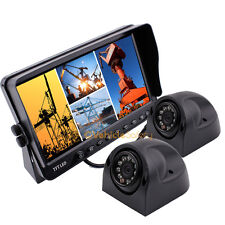"7"" QUAD SPLIT SCREEN MONITOR 2x SIDE VIEW BACKUP CAMERA SYSTEM FOR TRUCK TRAILER"