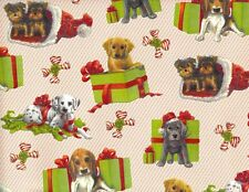 PUPPY DOG PRESENTS CHRISTMAS GIFT WRAPPING PAPER -TWO 26 In x 6 Ft Sheet