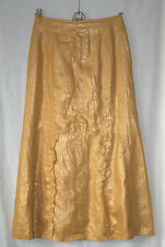 PER UNA (UK10 / EU38) GOLDEN YELLOW CRINKLE LINED SKIRT FRILLED PANELS - NEW