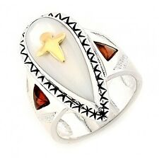 Victoria Adams / Carolyn Pollack Sterling & 14K Gold Ring Size 10