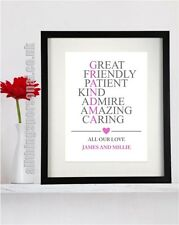 Personalised Grandma Granny Grandmother Birthday Mother's day gift/print/present