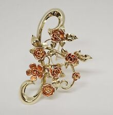 14K Yellow And Rose Gold Fancy Floral Rose Pin/ Brooch