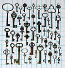 Antique Vtg old look skeleton keys lot heart bow lock steampunk jewelry charms