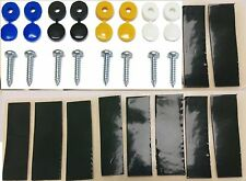 NUMBER PLATE FIXING KIT SCREWS CAPS 2YELLOW 2WHITE 2BLACK 2BLUE X8 & 10 PADS