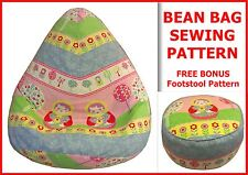 Kids & Adult BEAN BAG SEWING PATTERN + BONUS FREE  Foot Stool Cushion Pattern.