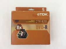 TDK DVD-R 4.7GB 5 Pack With Jewel Case 120 Min Video Single Sided 8x Compatible