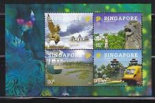 SINGAPORE 2009 TOURIST ATTRACTIONS INDONESIA JOINT ISSUE SOUVENIR SHEET 4 STAMPS