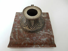 ROSE / BROWN MARBLE INK WELL STAND VGC WITH DAMAGED WELL NO CAP/LINER ART DECO
