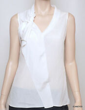 New $158 Tahari MARYANNE Ruffled Tunic Top Tank Shirt Blouse Cami White S