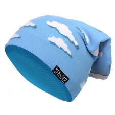Sense42 Long Beanie Clouds Unisex Long Hat Winter Knitted Cap Light Blue