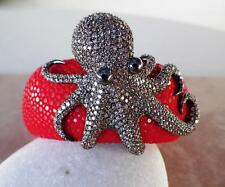 GORGEOUS Sterling Silver Oceanic Pave Octopus With Real Stingray Skin Bracelet