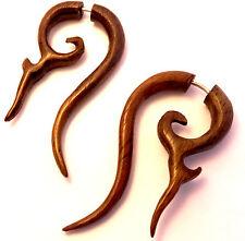 Faux Ecarteur Boucles d'oreilles Piercing Bois Ethnique Gauge Wooden Fake paire