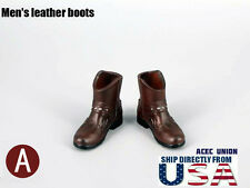 "1/6 Men Shoes Ankle Boots BROWN For 12"" Hot Toys Phicen Male Figure  USA SELLER"