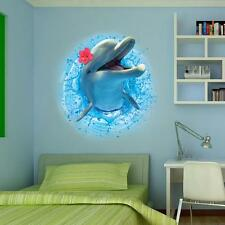 3D Happy Mrs. Dolphin Wall Stickers Decal Wallpaper Vinyl Wall Stickers
