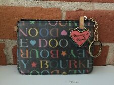 Dooney Bourke Multicolored Coated Canvas Coin Purse Keychain Wallet Wristlet