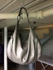 KENNETH COLE REACTION METALLIC SILVER  LEATHER HOBO BAG/PURSE