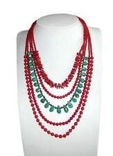 Multi Strand Red Coral, Turquoise and Tiger Eye Beaded Women's Necklace