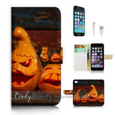 iPhone 7 (4.7') Flip Wallet Case Cover P2670 Halloween Pumpkin