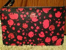 NWT COACH SMALL WRISTLET IN PRAIRIE CALICO FLORAL PRINT CANVAS MIDNIGHT & RUBY