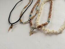 [4 Lot] Men's Unisex Necklace Puka Shell Bead Choker Shark Tooth Surfer  Brown