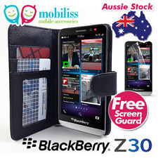 PU Leather Wallet TPU Inside Case Cover for BlackBerry Z30 Black