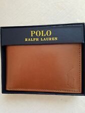 POLO RALPH LAUREN LOGO MENS BIFOLD SMOOTH TAN LEATHER PASSCASE WALLET $85 NIB