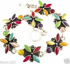 TAXCO MEXICAN STERLING SILVER MULTI INLAY FLORAL FLOWER BRACELET MEXICO