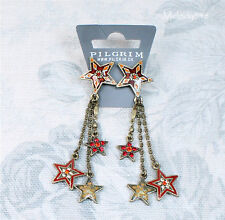 PILGRIM Earrings STAR Charm Gold Red Swarovski Enamel BNWT Last Pairs!