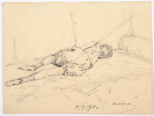 """Study of a sleeping girl"", Russian ink drawing, 1910"