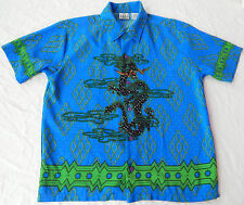 Dragons Short Sleeve Polyester Casual Shirt - Mens Medium Blue Cool Wyrm