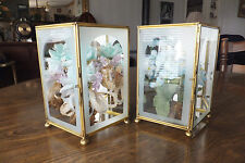 Vintage Brass Glass Footed Hinged Display Flower Boxes, Diamond Shaped