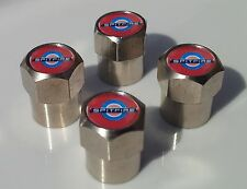 TRIUMPH SPITFIRE RED CHROME ALLUMINIUM CAR TYRE VALVE CAPS FOR TIRE WHEEL