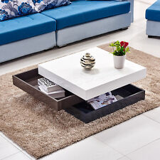 High Gloss White & Grey Coffee Table Storage 3 Tier Rotatable Square Livingroom