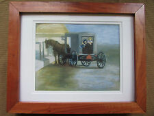 Pastel Print Signed Adrian Numbered 1/100 Matted Framed Amish Buggy Children
