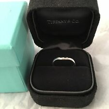 Auth Tiffany & Co Elsa Peretti 3 Diamonds Curve Band Ring White Gold 750
