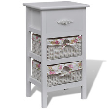 White Cabinet Unit Storage 2 Baskets Drawers Bedroom Bathroom Drawer Cabinets